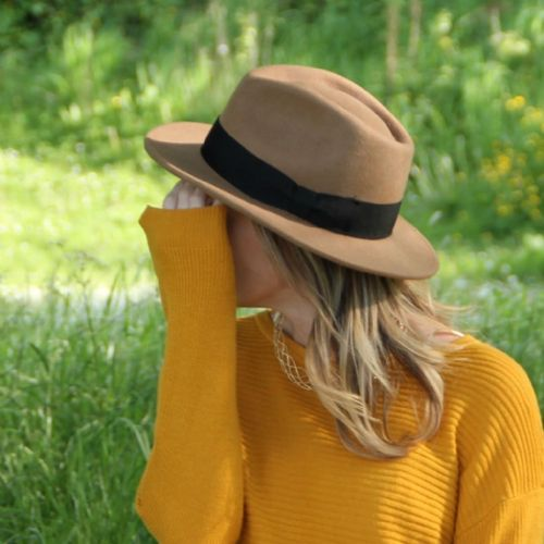 Camel Unisex Fedora Hat: Wool, Crushable - Indy